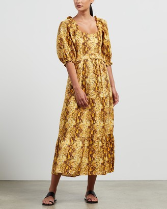 Faithfull The Brand Women's Brown Midi Dresses - Rumi Midi Dress - Size S at The Iconic