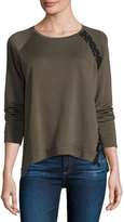 Generation Love Darcey Lace-Up Sweatshirt, Army Green/Black