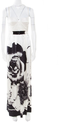 Roberto Cavalli Class by Monochrome Floral Printed Silk Satin Bustier Maxi Dress S