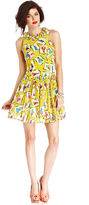 Monroe Marilyn Juniors Dress, Sleeveless Printed Ruffled A-Line