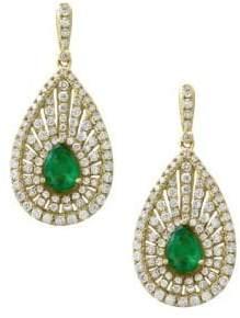 Effy Diamond, Emerald & 14K Yellow Gold Teardrop Earrings