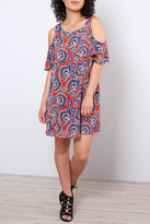 Everly Paisley Cold Shoulder Dress