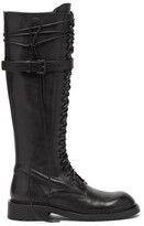 Thumbnail for your product : Ann Demeulemeester Danny Wraparound-lace Leather Knee-high Boots - Black