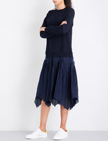 Clu Contrast-skirt cotton and silk dress