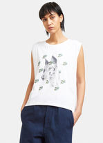 Stella McCartney Women's Embroidered Dog Print Tank Top in White
