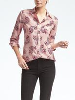 Banana Republic Easy Care Dillon-Fit Pink Paisley Shirt