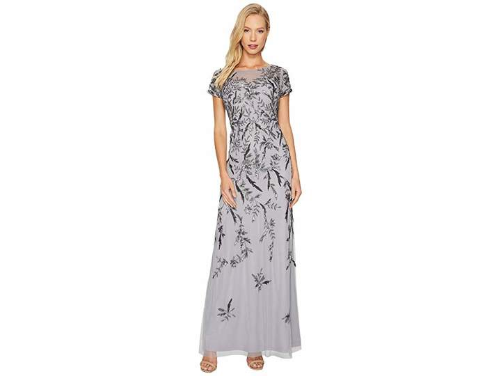 Adrianna Papell Short Sleeve Fully Beaded Gown with Illusion Neckline Women's Dress
