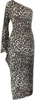 Norma Kamali One-shoulder printed stretch-jersey midi dress