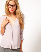 Asos Blouse With V Neck And Concealed Placket