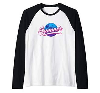 Distressed Palm Tree Sunshine Retro 80's Graphic T-Shirt Raglan Baseball Tee