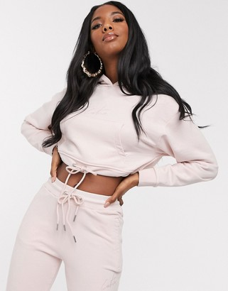 The Couture Club cropped hooded motif sweater in washed pink