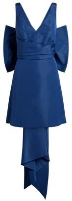 Carolina Herrera Silk Satin Bow-Back Mini Dress