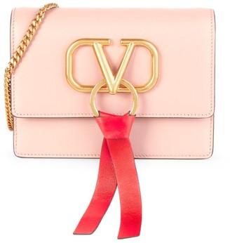 Valentino Logo Chain Leather Crossbody Bag