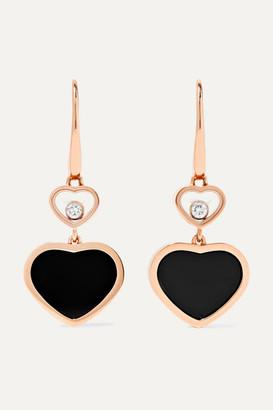 Chopard Happy Hearts 18-karat Rose Gold, Diamond And Onyx Earrings - one size
