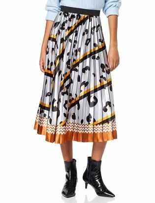 Liquorish Women's Pleated Animal Stripes Print Skirt with Tuscany Zig Zag Bottom