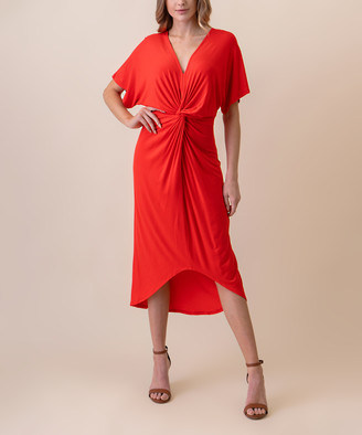 West Coast Women's Casual Dresses POPPY - Poppy Red Front-Twist Kimono Sleeve Midi Dress - Women