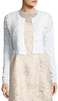 Elie Tahari Gisele Embellished Cropped Merino Sweater, Antique White