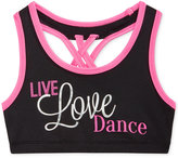Ideology Live, Love, Dance Contrast-Trim Racerback Sports Bra Big Girls (7-16), Only at Macy's