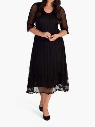 Chesca Mock Layer Daisy Chain Trim Pleated Mesh Dress