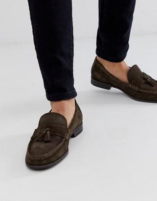 Ben Sherman suede tassel loafers in brown