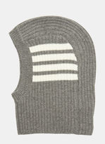 Thom Browne 4 Bar Stripe Ribbed Balaclava In Grey