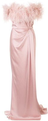 Marchesa Feather Trim Satin Gown