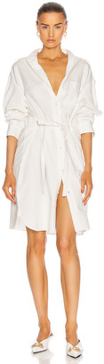 R 13 Oversized Button Up Shirt Dress in White | FWRD