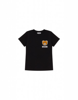 Moschino T-shirt With Teddy Bear Patch Unisex Black Size 4a It - (4y Us)