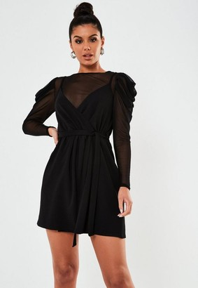 Missguided Petite Black Mesh Puff Sleeve 2 In 1 Dress