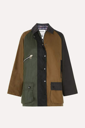 Barbour Alexachung Corduroy-trimmed Color-block Waxed-cotton Jacket - Green