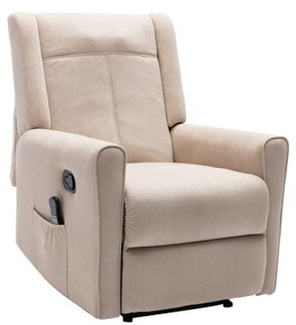 Red Barrel Studio Heile Power Recliner with Massage Fabric: Beige