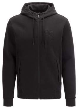 Zip-through hooded sweatshirt in a cashmere-touch cotton blend