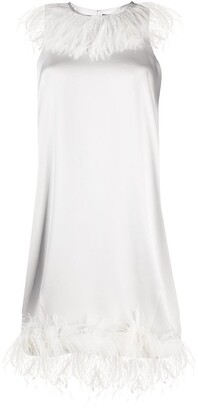 Gianluca Capannolo Feather-Trimmed Satin Dress