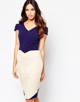 Hybrid Luxe Omega Dress with Cut Out Sleeve in Crepe
