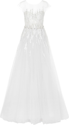 Mira Zwillinger Navara Sequined Silk And Cotton-Blend Tulle Gown