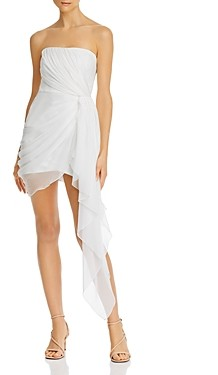 Cinq à Sept Strapless Draped Chiffon Mini Dress