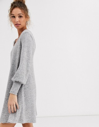ASOS DESIGN super soft mini smock dress in gray marl