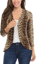 Magic Fit Leopard Curved-Hem Open Blazer