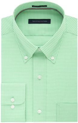 Tommy Hilfiger Men's Big and Tall Non Iron Regular Fit Gingham Buttondown Collar Dress Shirt