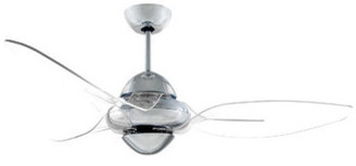 clear Vento Clover Indoor Chrome Ceiling Fan w/ 3 Blades, Chrome, 54""