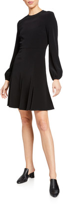 Co Crewneck Peasant-Sleeve Dress