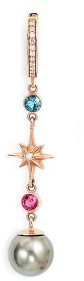 Marlo Laz Elixir Single Linear Pearl, Diamond & Stone Drop Earring