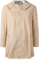 Brunello Cucinelli high shine trim hooded jacket - women - Silk/Leather/Acetate/Brass - 46