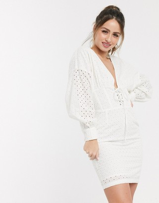 ASOS DESIGN broderie plunge mini dress with corset skirt in white