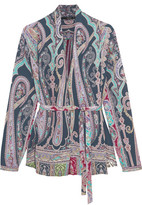 Etro Belted Paisley-print Silk Blouse - Purple