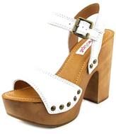 Two Lips Scarlett Women Open Toe Leather White Sandals.