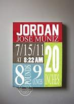 MuralMax Personalized Stretched Canvas Birth Announcement Gift, Custom Baby Name, Date, Weight Stats, Newborn Nursery Chevron Wall Art Decor, High Quality 100% Wooden Frame Construction, Ready To Hang 12X16