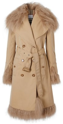 Burberry Shearling Trim Cotton Gabardine Belted Trench Coat