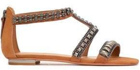 Schutz Tarlim Crystal-embellished Studded Suede Sandals