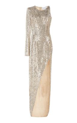 NERVI Kendall Asymmetric Sequined Chiffon Maxi Dress